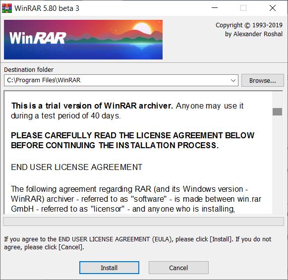 Правильная установка WinRAR на компьютер Windows 10